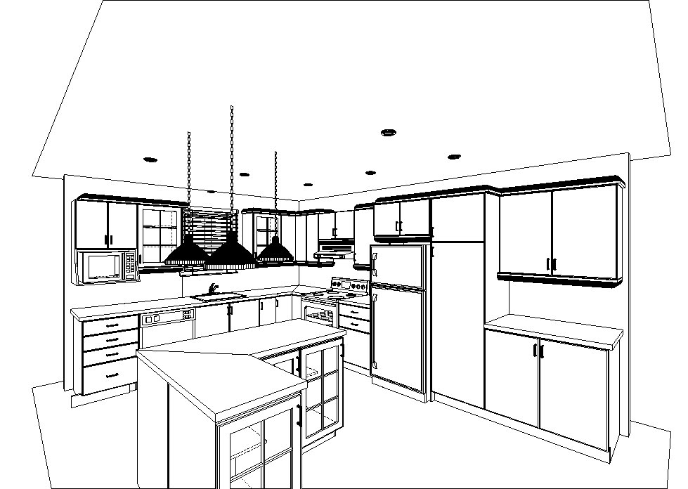 d coration int rieure et talage plan perspective cuisine. Black Bedroom Furniture Sets. Home Design Ideas
