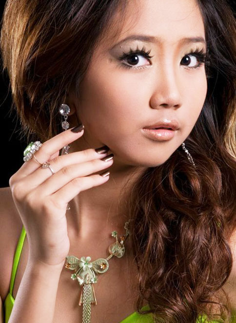 Myanmar Cute Model Girl, Mechi Ko with Green Long Dress