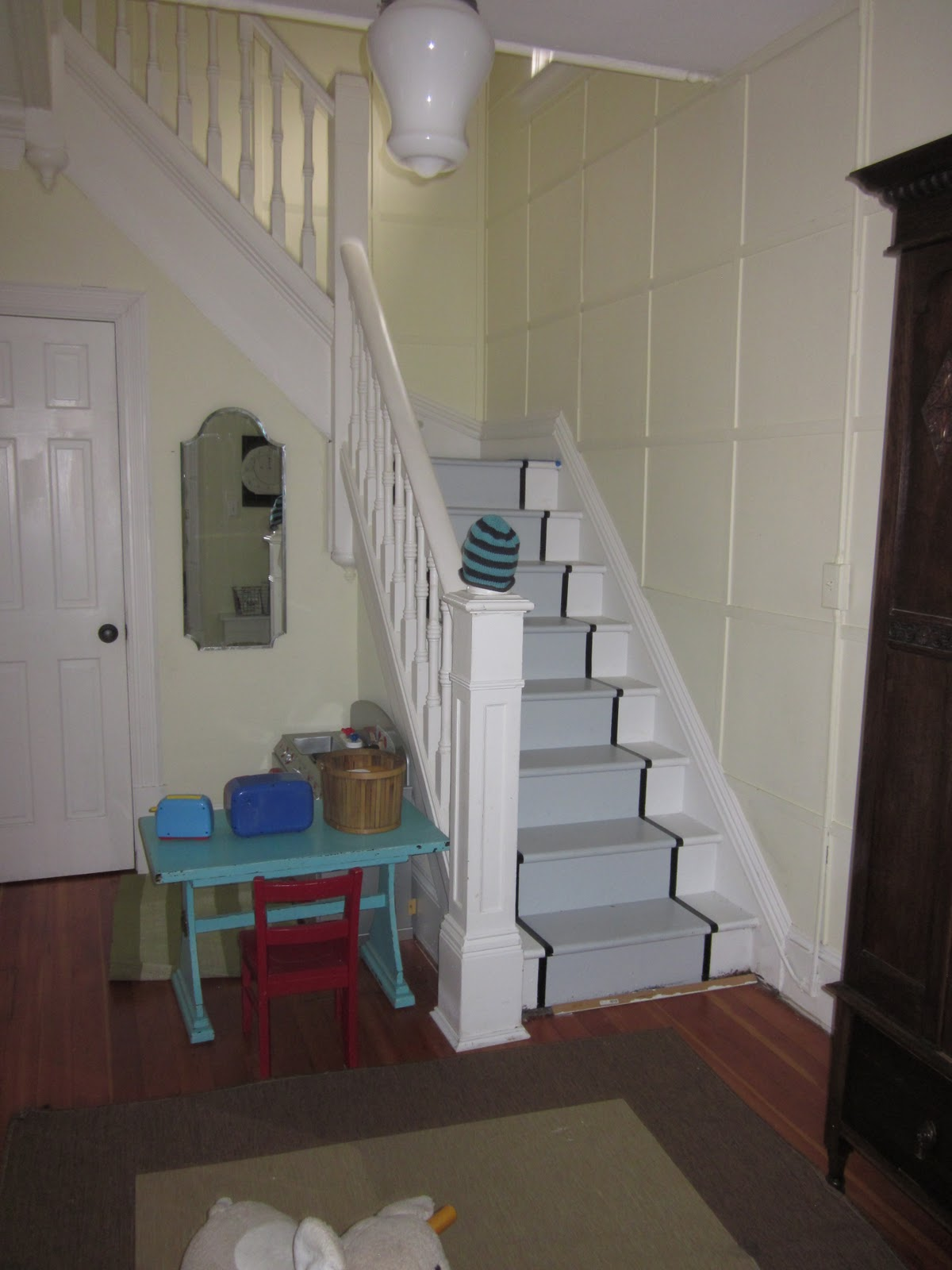 The modern cottage company painted stair runner for Painted stairs with runner
