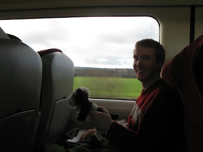 puppy and alex on the train