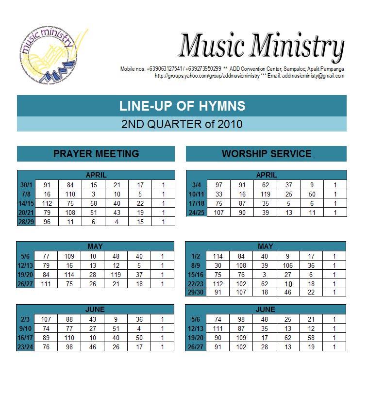 Letspraise Himnario Line Up For 2q April June 2010