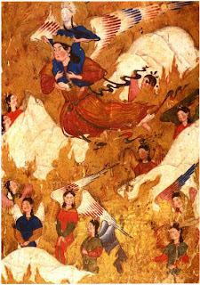 miniature, ascension of mohammad from miraj-nama