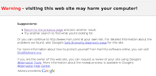 this web site can harm your computer says google