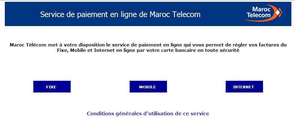 Maroc paiement des factures maroc telecom en ligne for Paiement en ligne hotel