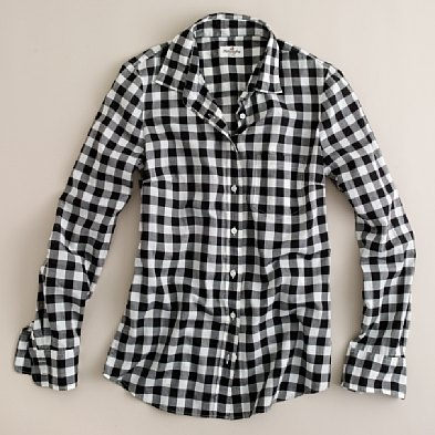 Womens Black And White Checked Blouse 91
