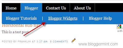 horizontal sub navigation for blogger