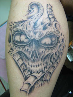 Biomech Style Alien Skull Tattoo Design