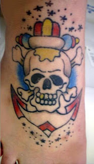 Anchor Tattoo Design with Skull and Cross Bones on Foot