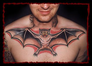 Evil Bat Chest Tattoo Design
