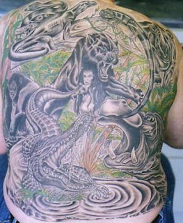 Jungle Animals Large Full Back Tattoo