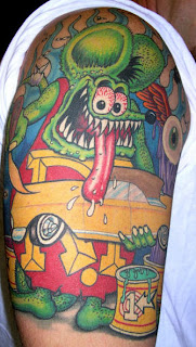 Full Color Monster and Car Tattoo Design