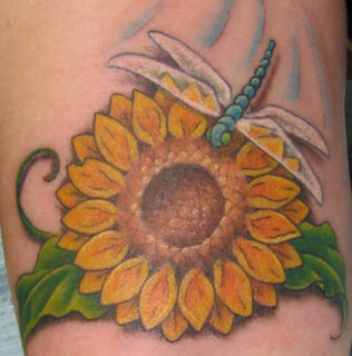 Sunflower and Dragonfly Tattoo Design