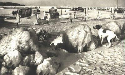 Bøgeskov Havn 1979 - isskruninger foto af Mikael Borre, Dagbladet - klik for større billede