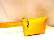 yellow silk clutch