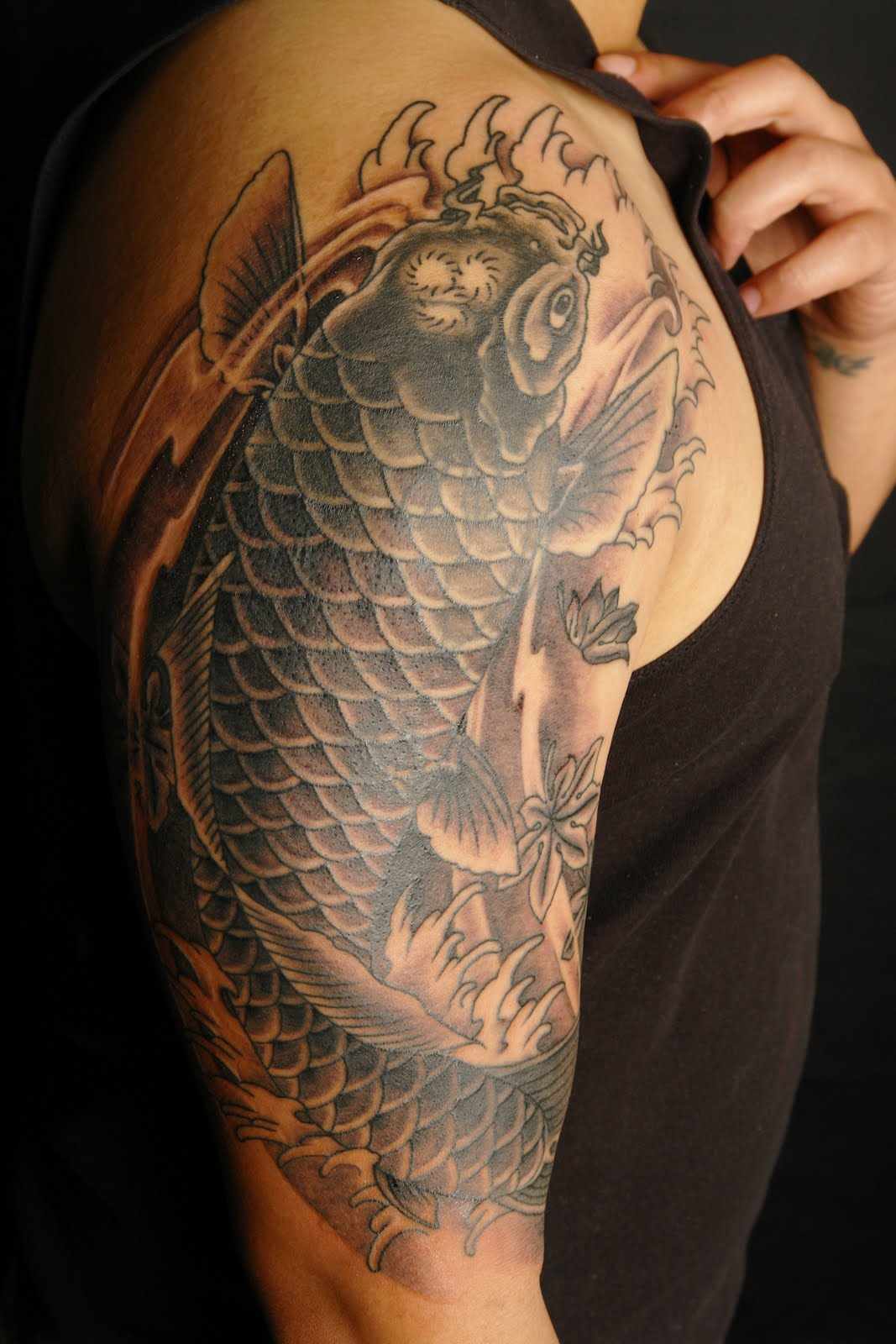 shane tattoos black and grey koi cover up. Black Bedroom Furniture Sets. Home Design Ideas
