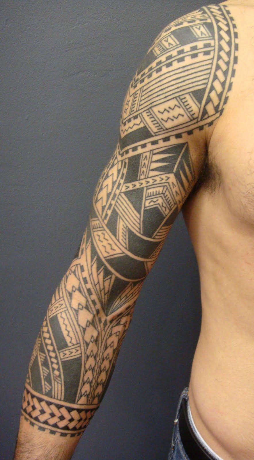 Maori polynesian tattoo samoan polynesian sleeve tattoo for Tribal tattoo sleeves