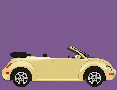 vector beetle car drawing in coral