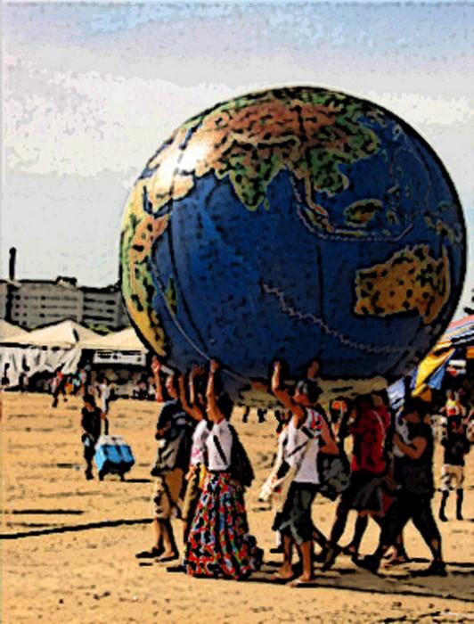 Pessoas sustentando o mundo