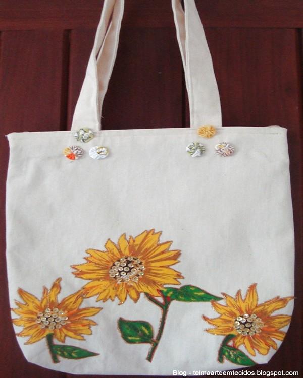 Bolsas De Tecido     Flores De Girasol