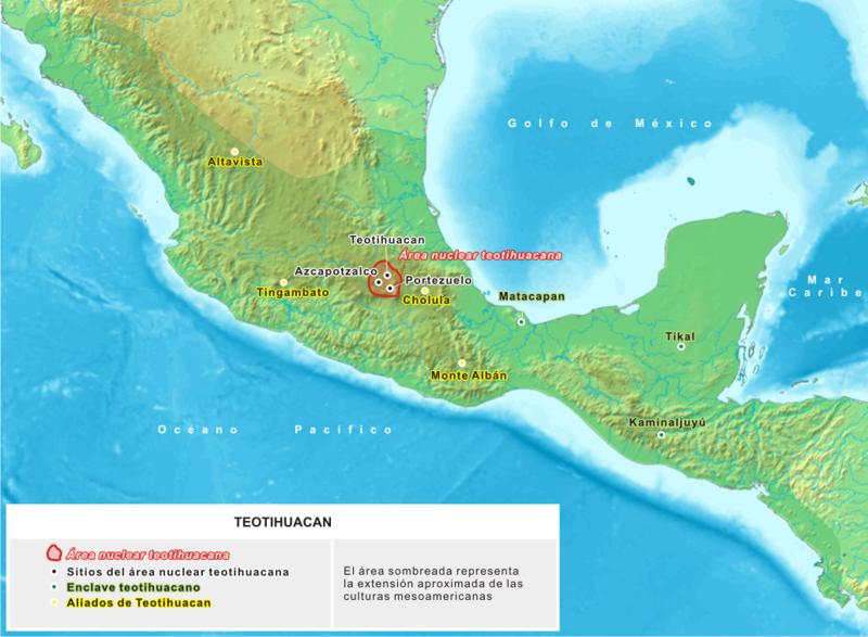 mapa de la cultura teotihuacana ubicación geográfica de la cultura