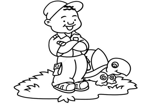 Imagenes para colorear: Dibujo de un niño con su tortuga para iluminar
