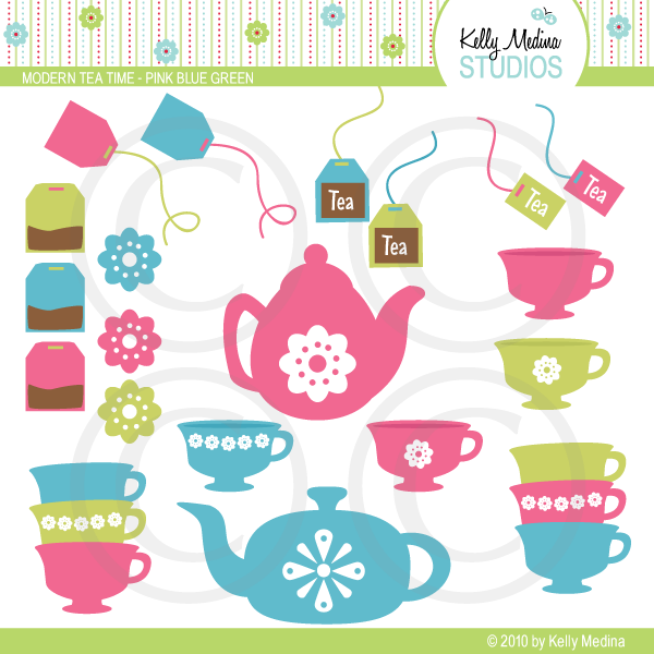 Property Of Kelly Tea Time Party Clip Art Set