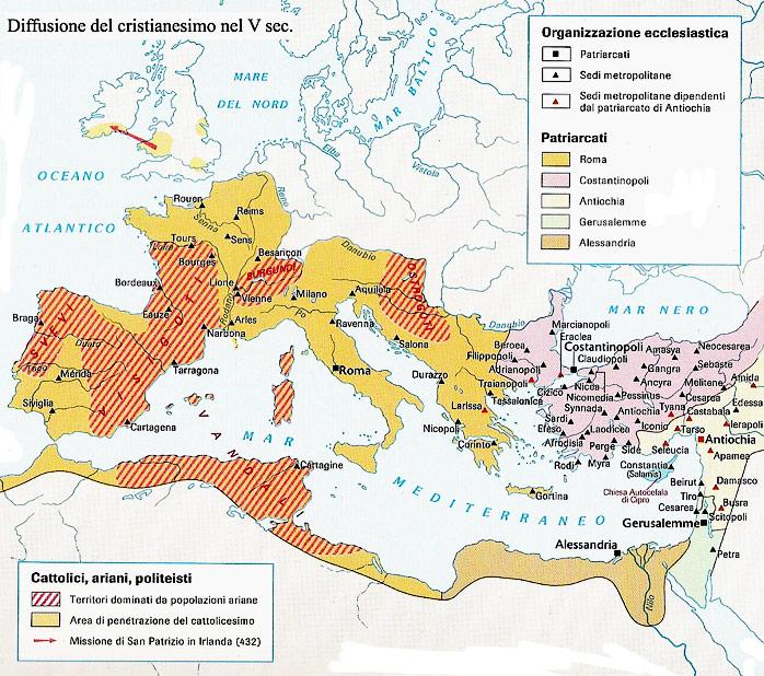 Diffusione del cristianesimo nel v secolo