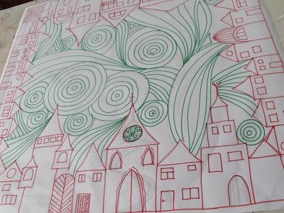 modern selyemkendő, kézzel festett