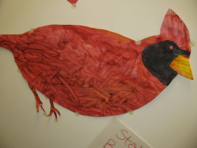 preschool cardinal painting. bird, early childhood, spring children's art, bulletin board
