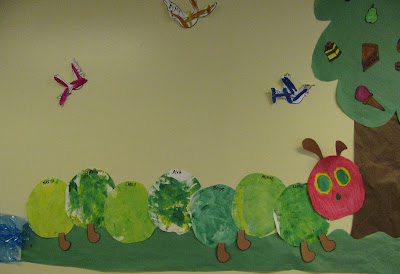 Very Hungry Caterpillar bulletin board, collage paintings, preschool, children's Art