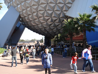 Babcia in front of Spaceship Earth