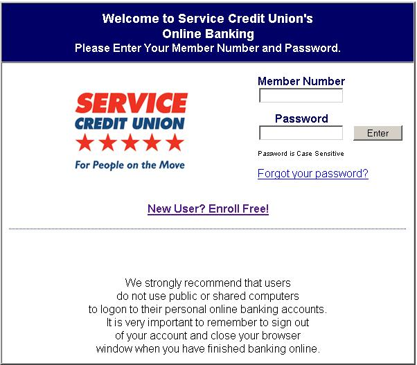 Service Credit Union - Online Banking - www.servicecuonline.org