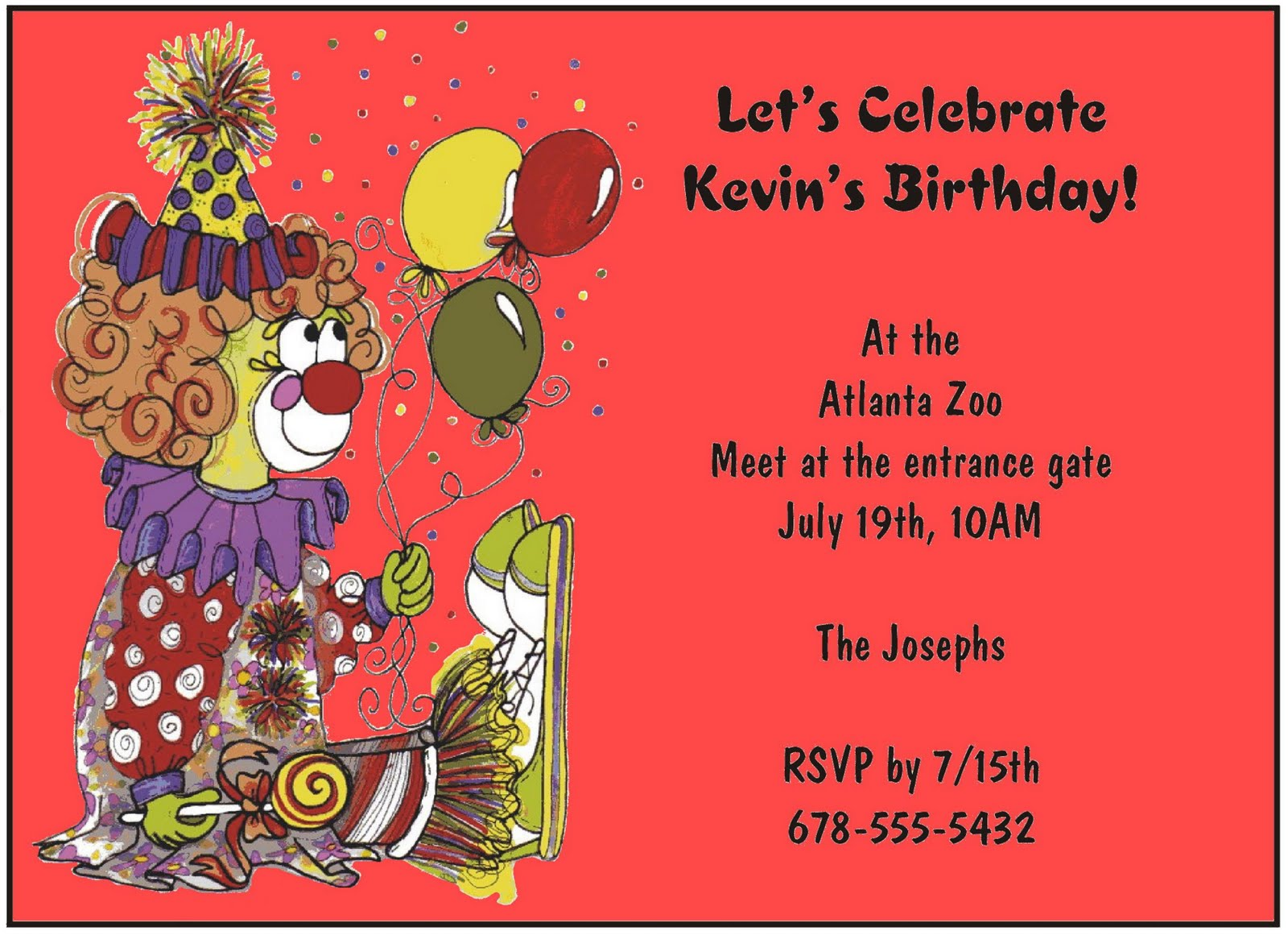 Clown Invitations