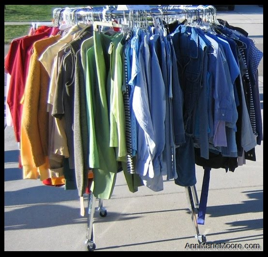 clothes rack ideas for garage sale - Picture Your World Organized & Easier Garage Sale Set Up