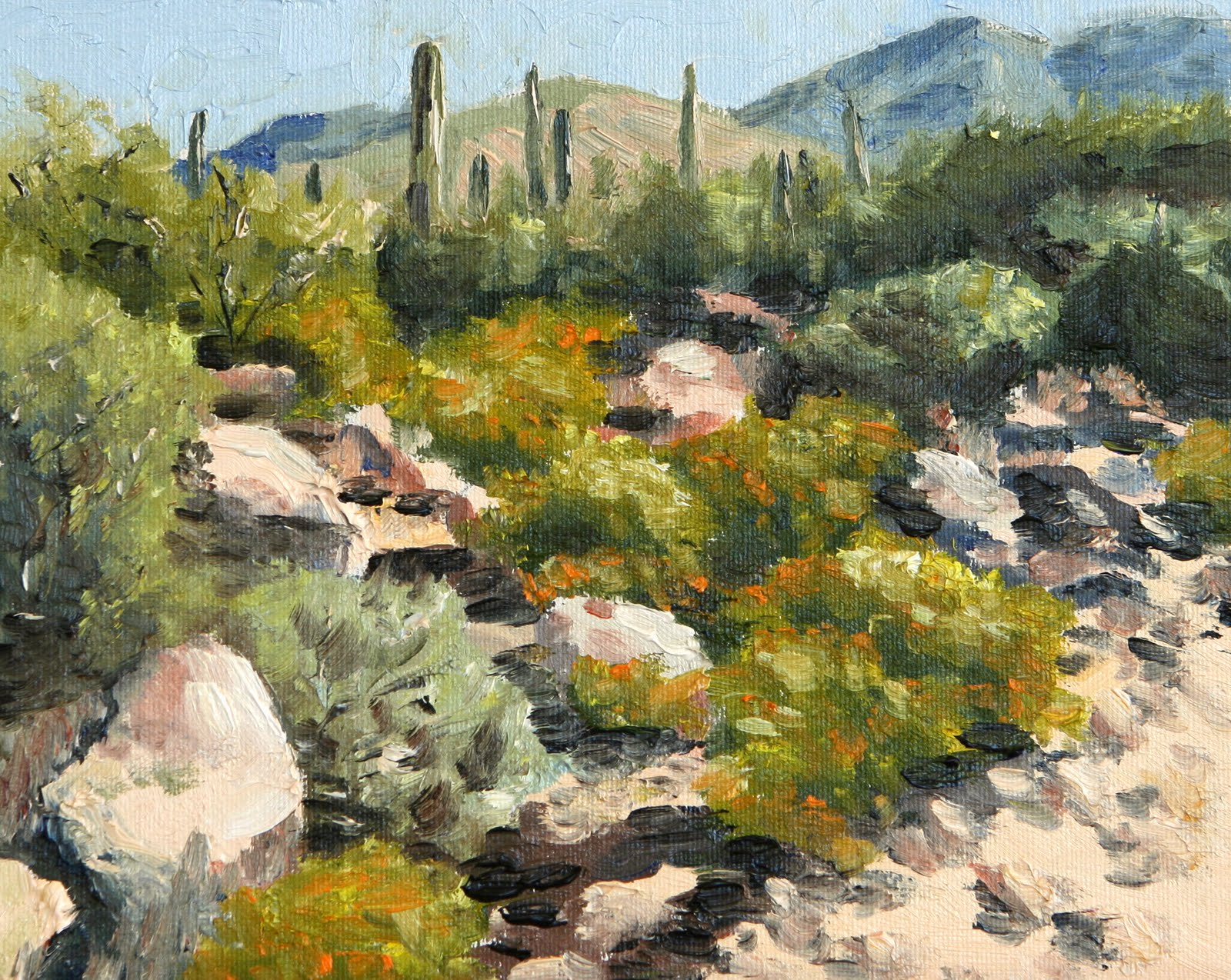 Cactus rock garden oil on canvas x the jumble of rocks