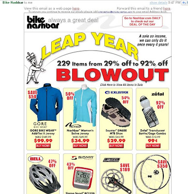 Bike Nashbar Store A quot Leap Year Blowout quot in my