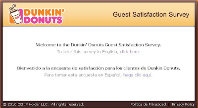 TellDunkin.com - Dunkin' Donuts Guest Satisfaction Survey