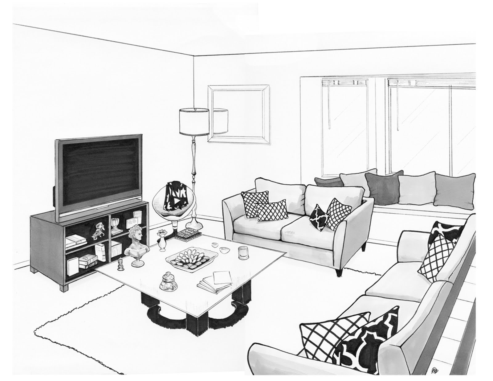 flako render drawing of andres living room
