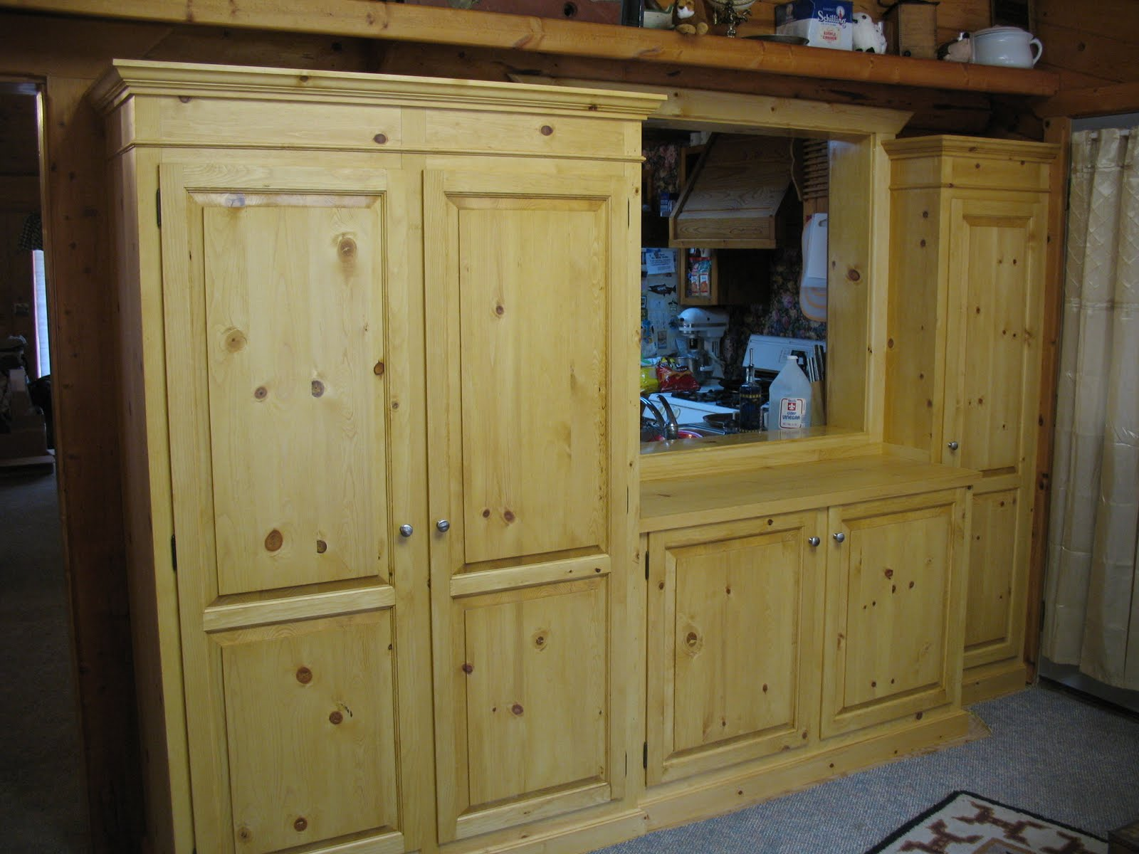 Depressioneradesigns pine pantry storage cabinets for Kitchen cabinets storage