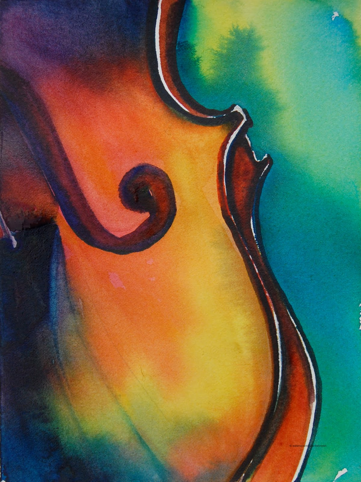 Musically Inclined Violin Musical Motif Watercolor By Pennsylvania Daily Painter Bertie Brown Art Is Instrumental