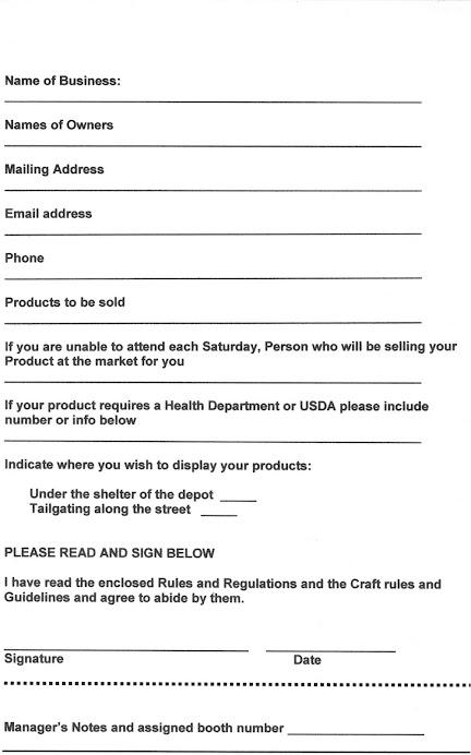 2009 Farmers Market Application