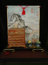 Chippendale chest with chinoiserie and chinese watercolour