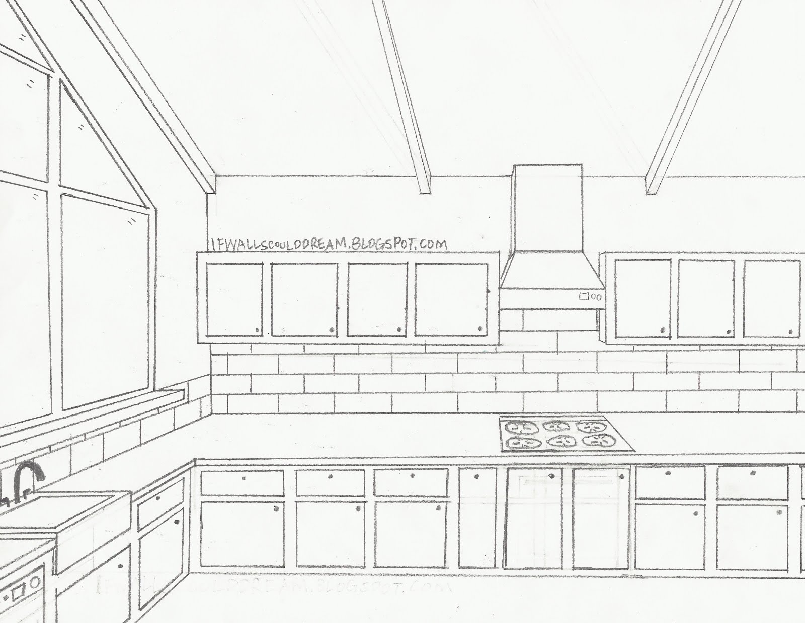 A sketch of a kitchen