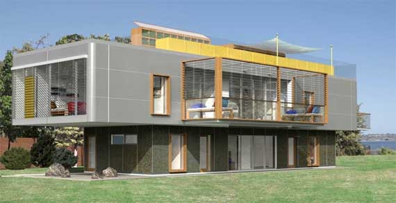 Modular contemporary sustainable house design by dna for Modern prefab house plans