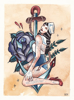 sailor jerry pinup flash  watercolor on arches pa...