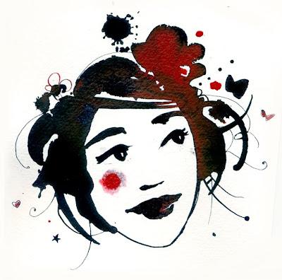 Illustration figure féminine à l'encre Diane Morel