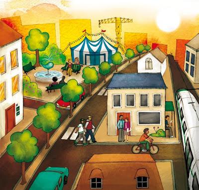 Scène urbaine avec des personnages