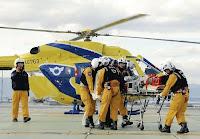県防災ヘリで患者搬送訓練