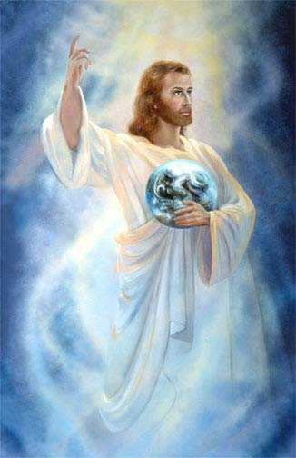 Blue background Jesus Christ Painting Wallpaper