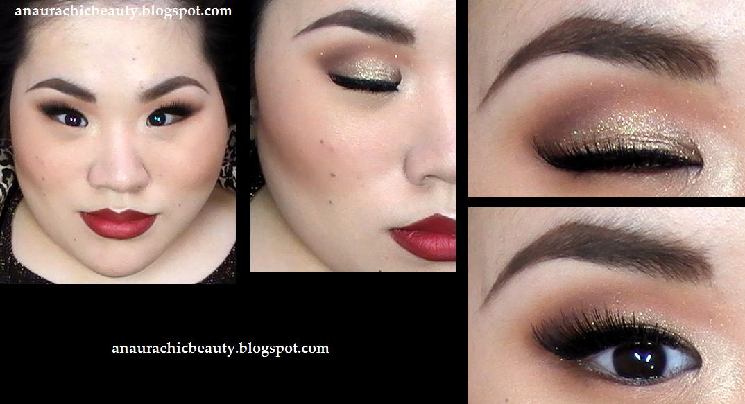 An Aura Chic Beauty Fw Glittery Taupe Gold Eyes Deep Brown Red Lips